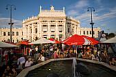 Sidewalk cafe in front of Burgtheater, Vienna, Austria