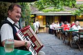 Man playing Schrammelmusik with his accordion in the Heuriger Mayer am Pfarrplatz, Heiligenstadt, Vienna, Austria