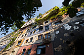 View at the colourful facade of the Hundertwasser house, Vienna, Austria