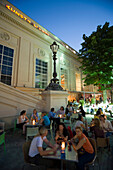 Bar in front of Kunsthalle at Museums Quartier, open-air area in the evening, Vienna, Austria
