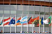 Flags in front of the International Conference Centre, UNO-City, Vienna, Austria