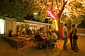 Young people in the open air area of the Volksgarten Clubdisco at night, Vienna, Austria