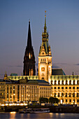 Inner Alster to the Jungerfernstieg with guildhall, Hamburg, Germany