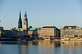 View over the Alster to the guildhall, View over the Inner Alster to the Jungerfernstieg with guildhall, Hamburg, Germany