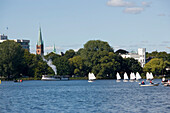 A lot of yawls on lake Alster, A lot of yawls on lake Alster, Hamburg, Germany