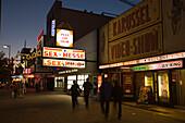 Reeperbahn at night, Illuminated advertising of a sex cinema at Reeperbahn, Sankt Pauli, Hamburg, Germany