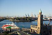 View over Landungsbruecken to dockyard with cranes, St. Pauli, Hamburg, Germany