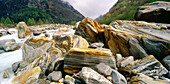 Colourful stones at the riverbank, Val Verzasca, Ticino, Switzerland