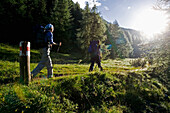 Hikers on a path in the early morning, Val Trupchun, Swiss Nationalpark, Engadin, Graubuenden, Grisons, Switzerland, Alps