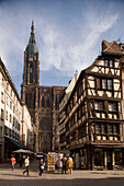 View over the Rue Merciere to the western facade of the Our Lady's Cathedral, View over the Rue Merciere to the western facade of the Our Lady's Cathedral Cathedrale Notre-Dame, , Strasbourg, Alsace, France