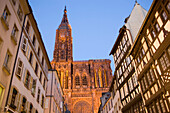 View through the Rue Merciere to the Our Lady's Cathedral, View through the Rue Merciere to the western facade and north tower of the Our Lady's Cathedral Cathedrale Notre-Dame, , Rue Merciere, Strasbourg, Alsace, France