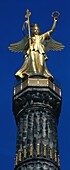 Close up of the angel on the Victory Column, Siegessaule, Berlin, Germany
