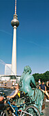 Sculpture and television tower at Alexanderplatz, Berlin, Germany