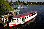 Pleasure boat on lake Aussenalster, outer Alster lake, river Alster, City, Hamburg