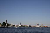 View to Landungsbruecken and Michel, HafenCity, Hamburg, Germany