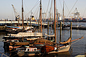 Museum port near the old navigators and mariners village of Ovelgonne, Today, many sailing boats like the Fire Service Boat Elbe 3 1888, the Steamship Otto Laufer, the Icebreaker Stettin 1933, and two steam trawlers