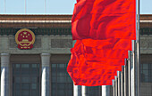 Red Flags on Beijing's Tiananmen Square facing Great People's Hall