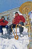 Two men smoking waterpipe at ski resort Dorukaya, Bolu, Turkey