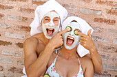 Couple with face masks