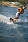 Man waterskiing, sports man waveboarding