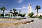 Park and minaret of Koutoubia, Koutoubia, Marrakech