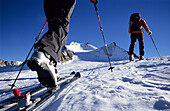 Close-up of a binding, couple ascending the summit of Wildspitze, 3768 m, Tyrol, Austria