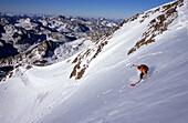 Man skiing downhill, Wildspitze, 3768 m, Tyrol, Austria