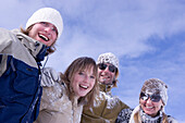 Young people after snowball fight, Kuehtai, Tyrol, Austria