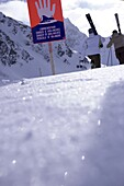 Two skier leaving the safety area of slope, Kuehtai, Tyrol, Austria