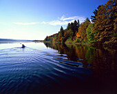 Kayak on the lakefront, Straffelsee , Upper Bavaria, Germany