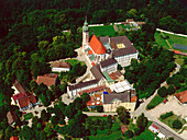 Aerial view of Andechs Cloister, Upper Bavaria, Germany