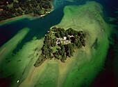 Aerial view of Roseninsel, Starnberger See, Upper Bavaria, Germany