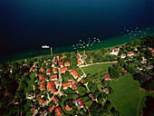 Aerial view of Ammerland, Schloss Pocci, Starnberger See, Upper Bavaria, Germany