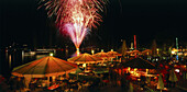 Summer festivity with fireworks, Starnberg, Upper Bavaria, Bavaria, Germany