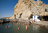 People bathing in the Embros Therme, a naturally 40 degree hot spring added with sulfit, knowing as health care, near Kos-Town, Kos, Greece