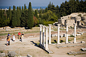 People visiting the temple Asklipieion, Kos-Town, Kos, Greece