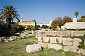 Remains of the Agora and a Mosque in background, Kos-Town, Kos, Greece