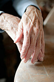 Hands of a senior woman, close up