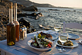 Different greek starters, including salat,  served in the Sea Satin Market Restaurant, Mykonos-Town, Mykonos, Greece