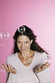Woman with soap bubbles, Portrait