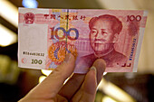 "Yuan, Renminbi (RMB) means ""The People's Currency"", bank note, portrait of Mao Tse Tung, Chinese currency"