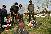 Fu Shou Yuan cemetery,cemetery during Ching Ming Festival, prayers for dead, ancestors, family offers food, wine, fruit to the dead people, show their respect, prayer, 5th of April, burning ghost money