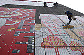 Duolun of Modern Art, Hongkou,Abseiling workers glue credit cards to the facade of the museum, Duolun Road, Duolun Lu Cultural Street, Hongkou
