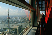 View from Jinmao Tower,Center of Pudong, Huangpu River, Pearl Orient Tower, TV Tower, city centre, Jinmao