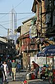 old town, Lao Xi Men, street life, Blick auf und Jinmao Tower, street kitchen