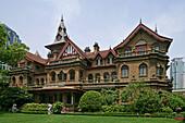 Moller Villa Hotel,fairytale gothic fantasy, brick building, 1936, Heng Shan group, garden