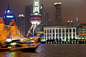 waterfront Pudong, Huangpu River, at night, Shanghai