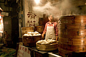 cook in kitchen, dumpling restaurant, Shanghai