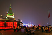 Bar Red, Bar Rouge,Luxury bar in 18, Design Bar, view of Pudong skyline, roof terrace, Peace Hotel in the back ground