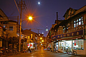 Hongkou quarter Shanghai, street, highrise, bicycle, street, Shops, Pudong, skyline, Pearl Orient, street light, street lamp, moon